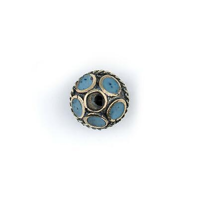 Turquoise-Inlaid Afghan Tribal Silver Bead 16mm Afghanistan Blue Round