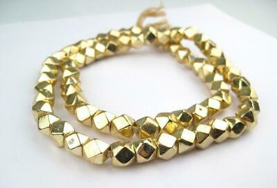 Jumbo Gold Diamond Cut Beads 9mm Faceted Brass Large Hole 24 Inch Strand