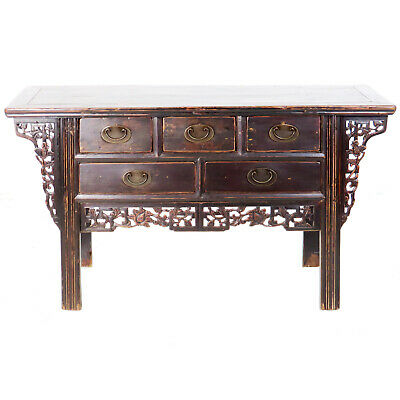 "Antique Chinese 57"" Long Elm 5 Drawer Buffet Vanity Cabinet Dark Brown Lacquer"