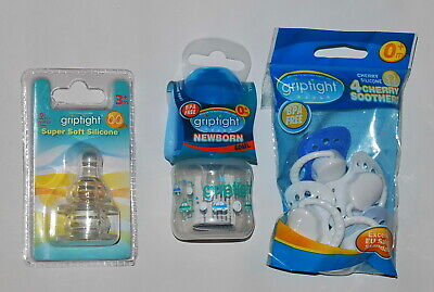 Griptight, Bottle Feeding Set, Bundle, Bottle 60ml, Teats, Soothers, Blue, 0+