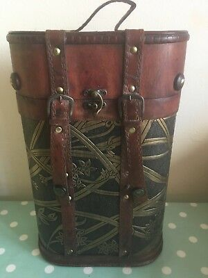 Wine box / carrier Antiqued wood & gilt finish. Ideal gift. Bar. Travel. Storage