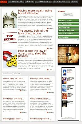Law Of Attraction Website For Sale! Search Engine Friendly Content Included
