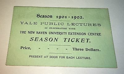 Rare Antique American Yale Public Lectures Season Ticket C.1901 New Haven Univ.