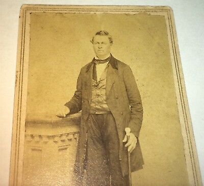 Rare Antique American Civil War Era Victorian Gent, Cane! New Haven CT CDV Photo