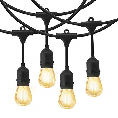 LED Outdoor String Lights, EAGWELL 48Ft Commercial Outdoor Lights with 15 LED UL