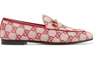 ed7d57e0e Gucci New Jordaan Red Canvas Logo Leather Brixton Loafer Mule Slipper Flat  41
