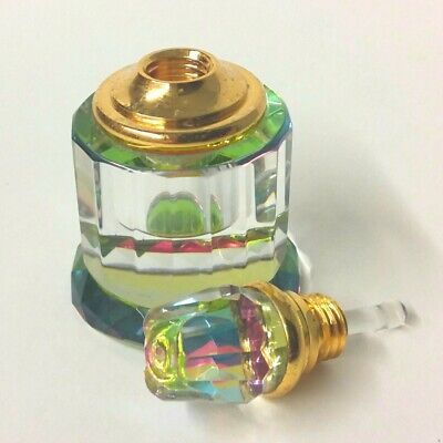 Beautiful Heavy Rainbow Crystal Perfume Bottle With Glass Dropper