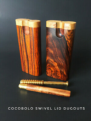 """4"""" Cocobolo Wood Dugout with One Hitter Bat- Perfect Gift-Swivel Lid"""