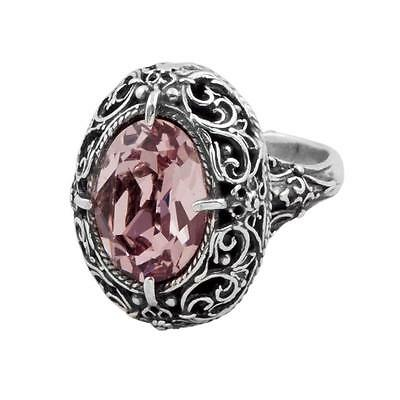 D183 - Sterling Silver & Swarovski Medieval Cocktail Ring