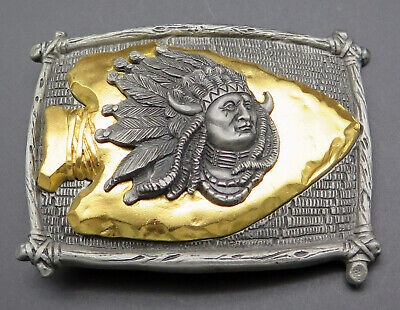 Sitting Bull Native American Indian Chief Arrowhead Southwest Style Belt Buckle