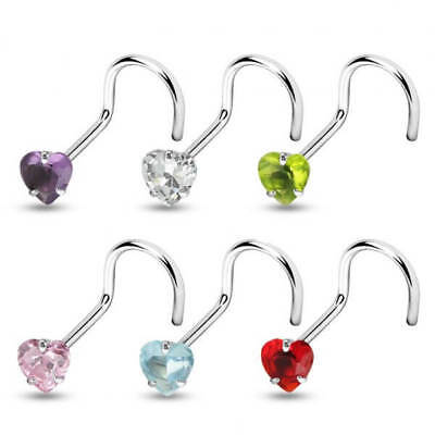 5 PCS Assorted Color Heart Prong Set CZ Top Surgical Steel Nose Screw nose Stud