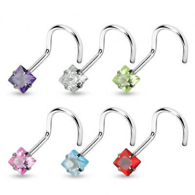 5 PCS Assorted Color Square Prong Set CZ Surgical Steel Nose Screw nose Stud