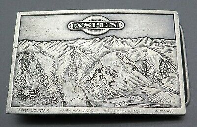 Aspen Colorado Mountains Bergamot Brass Works 1970's Vintage Belt Buckle