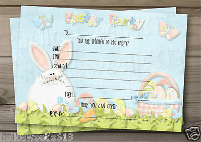1-10 Hoppy Hearts Easter Party,egg Hunt Invitations Or Thank You Cards