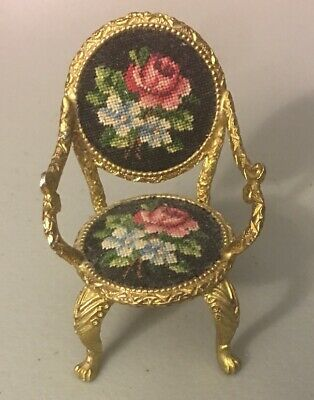 Antique Victorian French Petite Point Side Chair Needlepoint Miniature