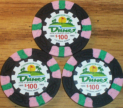 Lot 3 $100 THE DUNES Casino Poker Commemorative Chips House Mold Las Vegas NV
