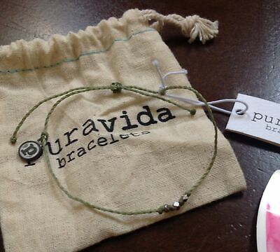 New Pura Vida Delicate 3 Bead friendship surfer beach string bracelet sage green