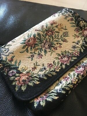 1960's-70' Vintage Popular Pettit Point Tapestry Clutch Purse Evening Floral Bag