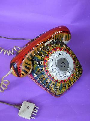Retro Vtg  Colourful Telephone  Oil Painted by Soto Artist Abstract Art 1970's