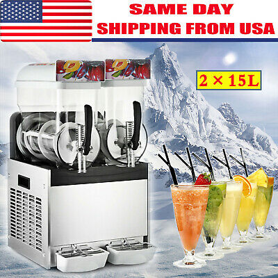 2 x 15L Slushy Machine Slush Making Machine Frozen Drink Smoothie Maker 500W