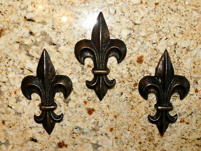 THREE, Fleur de Lis, Wall plaques, Medieval, Old World, Royal, King, Queen, Set