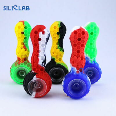 Silicone Hand Smoking Pipe Glass Bowl w/Tool -style  Solid Black