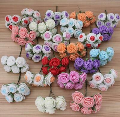 6Pcs Latex Rose Artificial Flowers Fake Bouquet Buch Wedding Home Party Decor UK