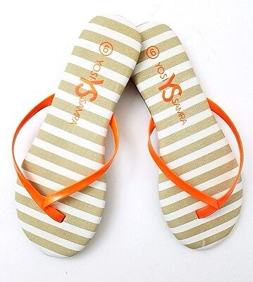 cbad4a3282123 YOSI SAMRA NWOB  90 Women s Orange Roee Stripe Two Tone Flip Flop Thong ...