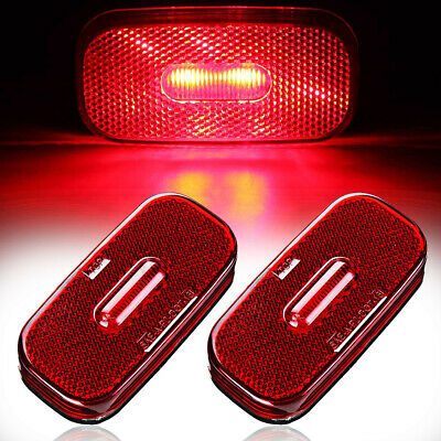 2x Oblong Red Oval LED 12V Side Marker Light Indicator Lamp Camper Truck Trailer