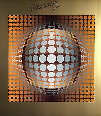 Victor Vasarely Hand Signed Signature * Vega-Zett 2 * Photo-Lithograph W/ C.o.a.