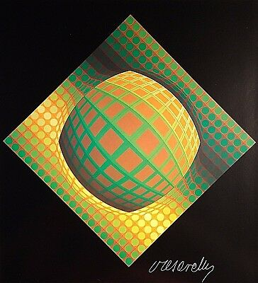 Victor Vasarely Hand Signed Signature * Vega-Zett 01 * Lithograph W/ C.o.a.