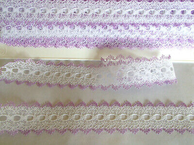 Eyelet/knitting in/coathanger lace 5 metres x 3.5cm wide white with lilac edging