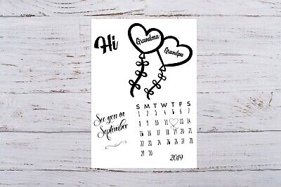 Pregnancy Announcement Calendar for Grandparents Due Date Personalised Monogram