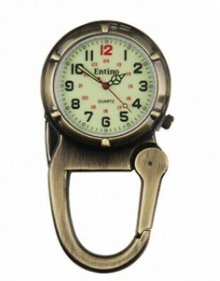 Antique Bronze Clip on Carabiner Sturdy FOB Watch Military Style by Entino