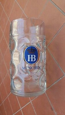 Hb Munchen  Beer Stein 1 Litre Dimpled Glass Barware
