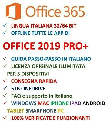 Microsoft OFFICE ITALIANO 2019 PRO + / 365  x 5 PC / Mac / Cell Iphone IPAD