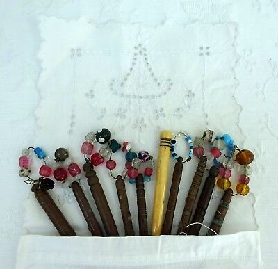 Antique Embroidered Bag & 10 x Lacemaking Bobbins Beads Victorian Spangled