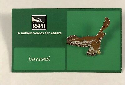 RSPB MVFN Pin Badge On Card - buzzard Flying Raptor Bird