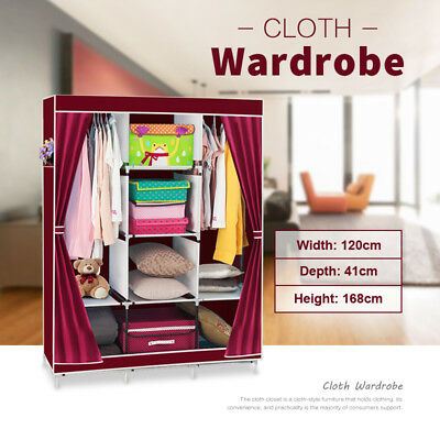 Portable Cloth Wardrobe Non Woven Canvas Clothes Storage Steel Hanger Multi Size