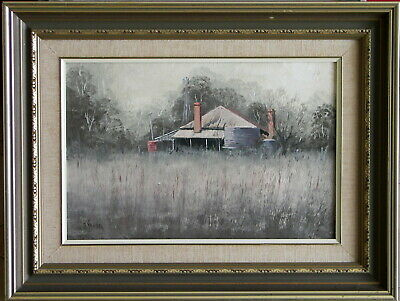 John Vander (1945-) Original Oil Painting Country Cottage Landscape Near Coolah