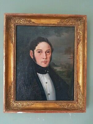 Antique Victorian Oil Painting fine gentleman portrait Regal French 1800s framed