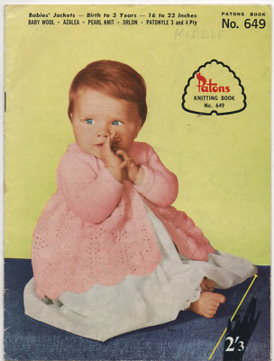 Vintage Knitting Book - Baby Patterns - Patons Book 649 - 1960s