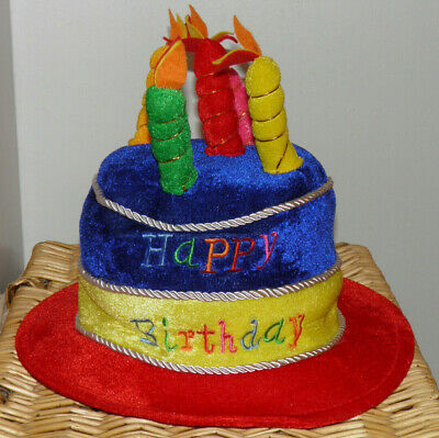 HAPPY BIRTHDAY PLUSH Hat Cake With Candles Perfect Party