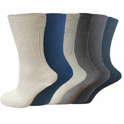 12 Pairs Mens Socks Comfort Soft Grip  ribbed cotton -100% pure cotton sock 6-11
