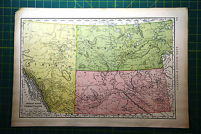 NW Territories of Canada - Original 1898 Vintage Antique Rand McNally Atlas Map