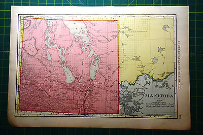 Manitoba Territory Canada - Original 1898 Vintage Antique Rand McNally Atlas Map