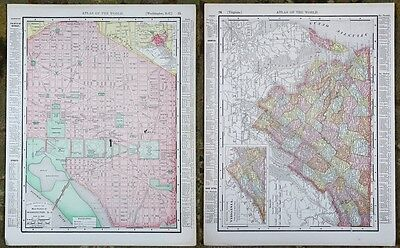 Washington DC Virginia Rand McNally Antique Atlas Maps Vintage Original 1898 Map
