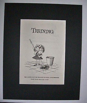Dog Cartoon Print Norman Thelwell House Train Cleanup Bookplate 1964 8x10 Matted