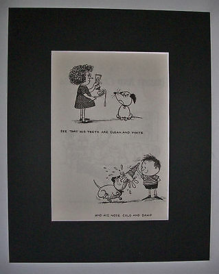 Dog Cartoon Print Norman Thelwell Clean Teeth Damp Nose Bookplate 1964 8x10 wMat