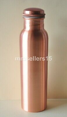 Set Of 3 Pure Copper Handmade Jointless Water Bottle Flask 950 ml Storage Health
